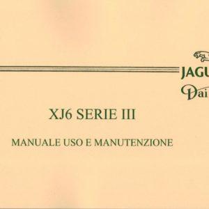 MANUALE USO E MANUTENZIONE XJ6 SERIE 3 IN ITALIANO